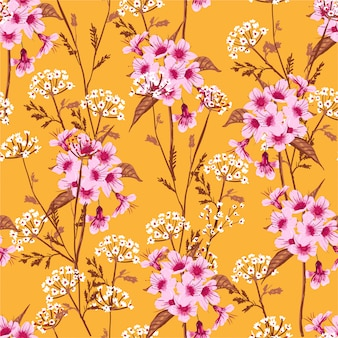 Floral seamless pattern blooming white and pink meadow flowers