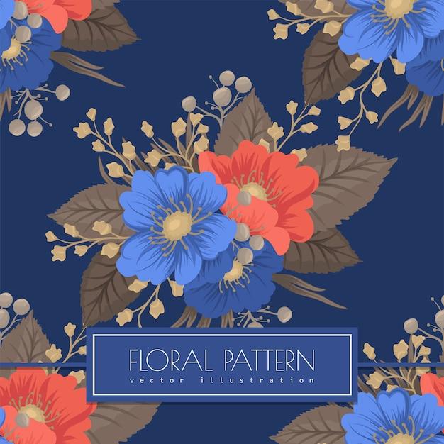 シームレスな花柄-青と赤の花