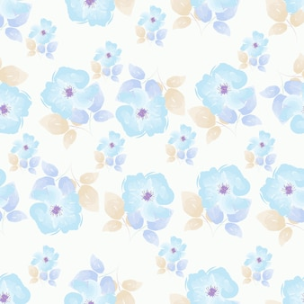 Floral  seamless pattern blue rose watercolor