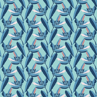 Floral seamless pattern. blue stems, flowers and leaves isolated on ice blue background.