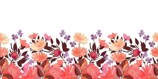 花のシームレスなパターン、ボーダー。チコリ、牡丹の花、つぼみ。赤、紫、珊瑚色の花、白い背景で隔離の茶色の葉。