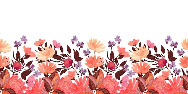 Floral seamless pattern, border. chicory, peony flowers, buds. red, violet, coral color flowers, brown leaves isolated on a white background.