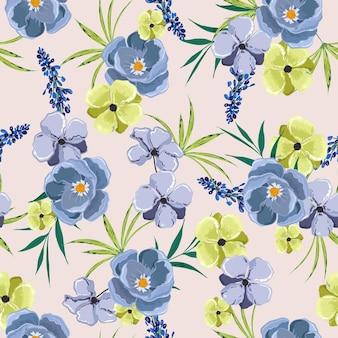 꽃 원활한 패턴 식물 꽃입니다. 손으로 그린 스타일.