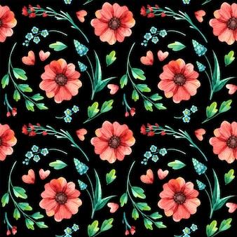花のシームレスなパターン、植物の水彩画。春の葉と花の手描き