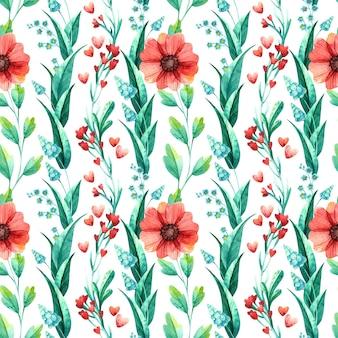 꽃 완벽 한 패턴, 식물 수채화입니다.