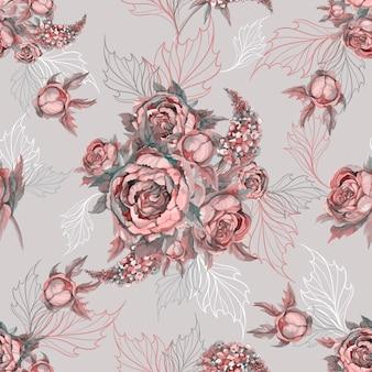 シームレスな花柄バラのシャクヤクとライラックの花束。