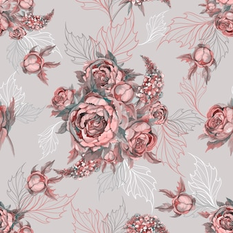 Floral seamless pattern bouquet of roses peonies and lilacs.