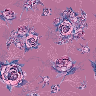 Floral seamless pattern bouquet of roses peonies and lilacs