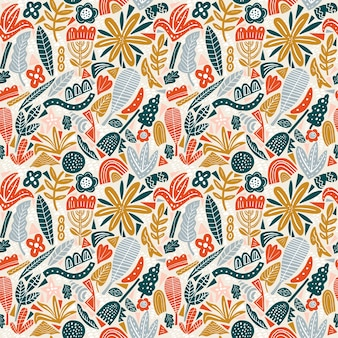 Floral seamless pattern bright colors autumn. flat flowers, petals, leaves with and doodle elements.