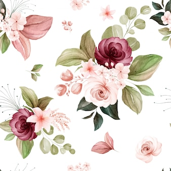 Floral seamless pattern of brown and burgundy watercolor roses and wild flowers arrangements