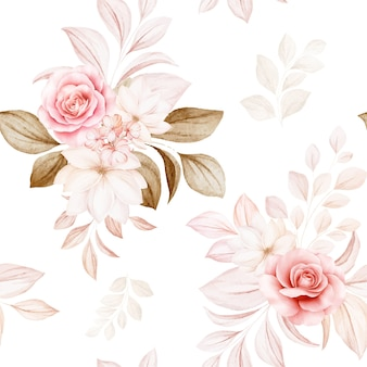 Floral seamless pattern of brown and peach watercolor roses and wild flowers arrangements
