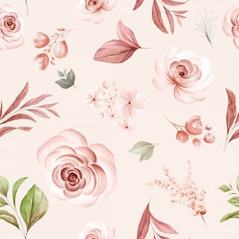 Floral seamless pattern of brown watercolor roses and wild flowers arrangements