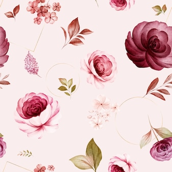Floral seamless pattern of burgundy and peach watercolor roses and wild flowers arrangements