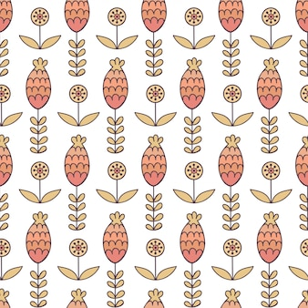 Floral seamless pattern in cartoon style.