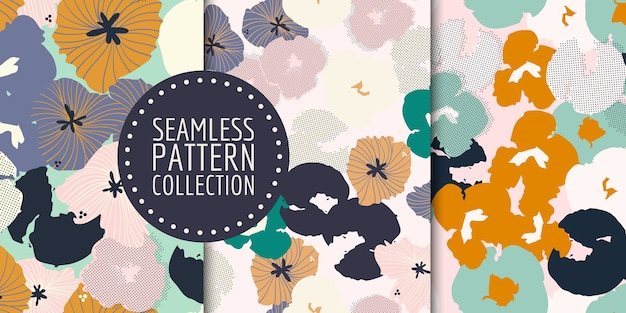 Floral seamless pattern collection.