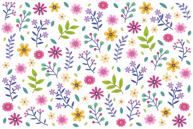 Floral seamless pattern daisy white background