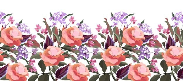 花のシームレスなパターンの装飾的な境界線。葉を持つ花