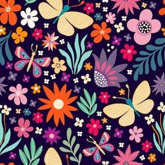 シームレスな花柄、装飾的な手描きデザイン