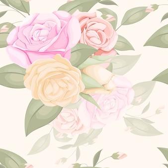 バラと葉と花のシームレスなパターンデザイン