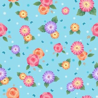 Цветочный бесшовный узор с розами и цветами ромашки