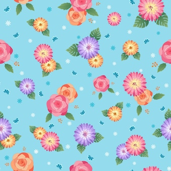 Floral seamless pattern design with rose and daisy flowers