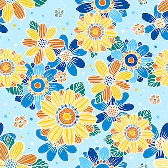 꽃 원활한 패턴, 파란색 배경 위에 우아한 꽃 디자인