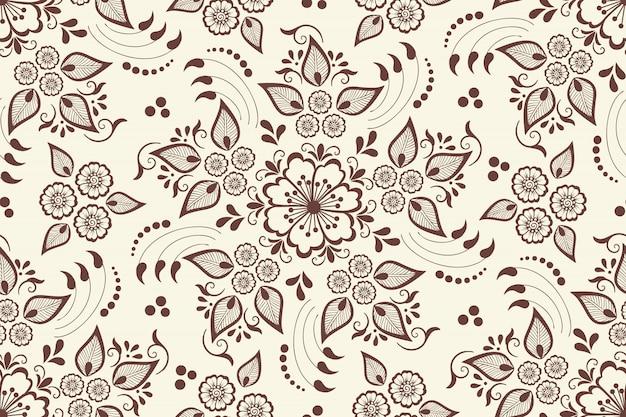 Цветочный узор бесшовные в арабском стиле. арабески восточный этнический орнамент.