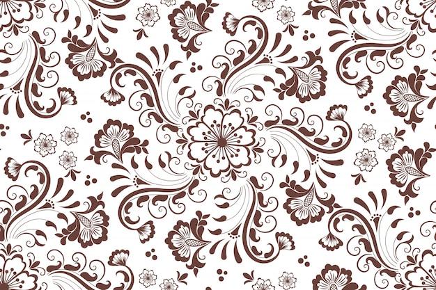 アラビア風のシームレス花柄要素。アラベスク模様。 無料ベクター