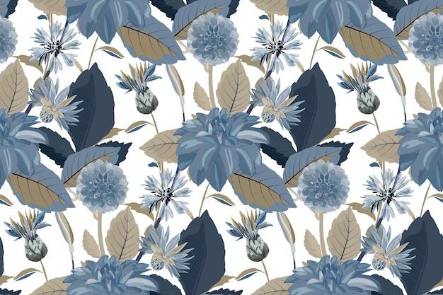 花のシームレスなパターン。花の背景。青いヤグルマギク、ダリア、アザミの花、青、茶色の葉とのシームレスなパターン。白い背景で隔離の花の要素。