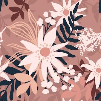 Цветочные бесшовные модели. цветы и листья.