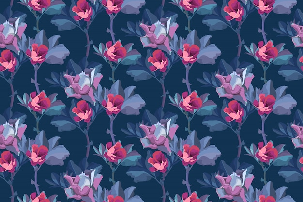 Floral seamless pattern. flowers background. small pink buds of roses, blue leaves isolated on navy blue background.