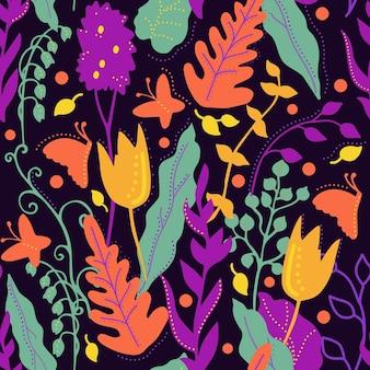 웹사이트에 대 한 직물 포장지 벡터 배경 인쇄에 대 한 꽃 원활한 패턴