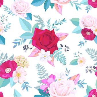 수채화 스타일의 봄 드레스를 위한 꽃 원활한 패턴