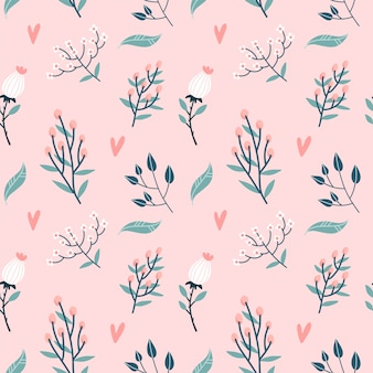 Floral seamless pattern. garden flowers branches, buds and hearts on pastel pink background. roses blossom bud with leaves and wildflowers twigs decorative backdrop.  flat illustration.