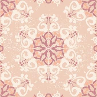 花のシームレスなパターン幾何学的なダマスクパターンの背景ピンクベージュ色