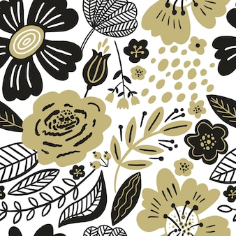 シームレスな花柄のゴールドと黒の色。平らな花、花びら、葉、落書き要素。繊維と表面のコラージュスタイルの植物の背景。切り抜き紙のデザイン。