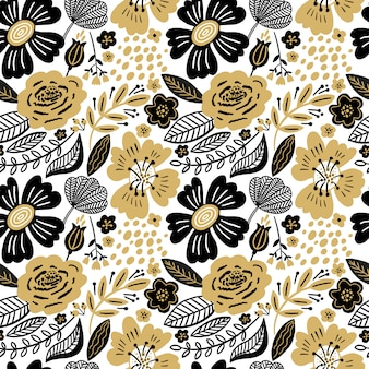 Floral seamless pattern gold and black colors. flat flowers, petals, leaves with and doodle elements. collage style botanical background for textile and surface. cutout paper design.