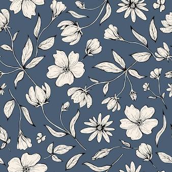 花のシームレスなパターン。線画スタイルの手描きインクイラスト