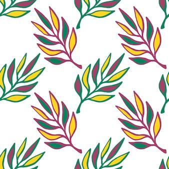 Цветочные бесшовные шаблон. вертикальная текстура с листьями. зеленые листья вектор фон бесшовные.