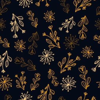 ラインアートスタイルの花のシームレスなパターン花の抽象的な植物プリントは小枝を残します