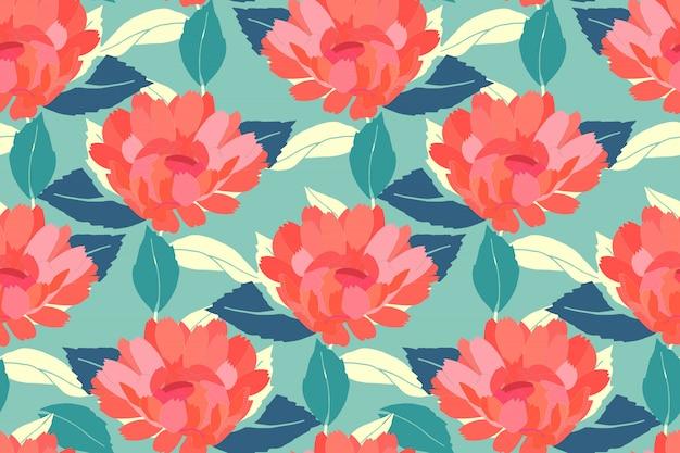 Цветочный фон в стиле ретро. красные садовые цветы, синий и палевый листья, изолированные на бледно-голубом фоне. для домашнего текстиля, ткани, обоев, аксессуаров, цифровой бумаги.