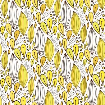 Цветочный бесшовные шаблон в желтый цвет. весенний текстильный или упаковочный дизайн. векторный яркий фон