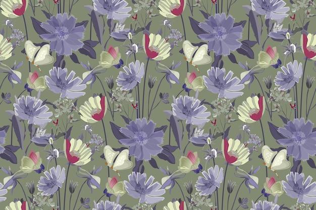 緑の背景に分離された花のシームレスなパターン