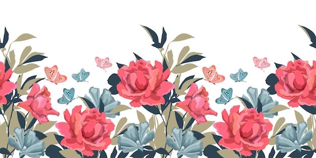 白い背景で隔離の花のシームレスなパターン