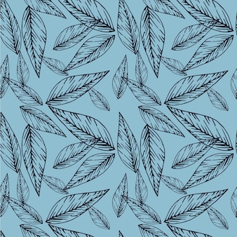 Floral seamless pattern in line art style  abstract botanical print of flowers leaves twigs