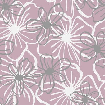 Floral seamless pattern. lines vector buds, line art hand drawn