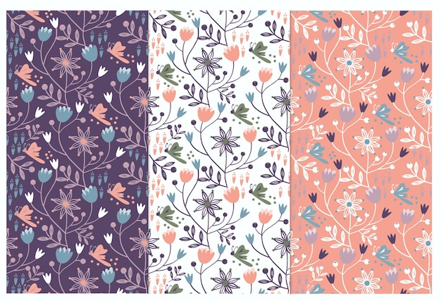 Floral seamless pattern on navy blue background