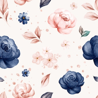 Floral seamless pattern of navy and peach watercolor roses and wild flowers arrangements