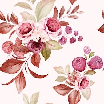 Цветочный фон из бордовых и персиковых акварельных роз и композиций из полевых цветов