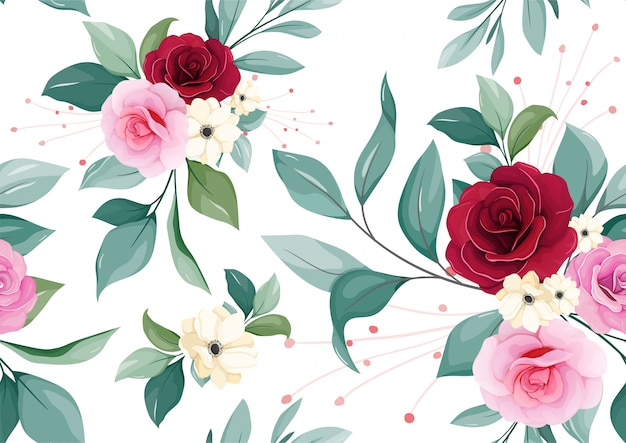 Цветочные бесшовные модели бордового, румян, лиловая роза, белый цветок анемона, и листья на белом фоне